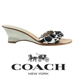 Coach Havana Signature Fabric Bow Thong Sandals